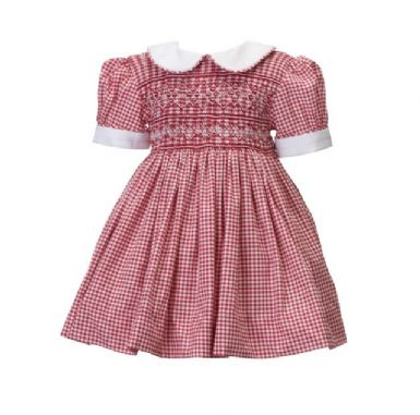 Baby red gingham hand smocked dress | Patrizia Wigan Designs